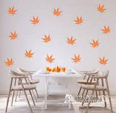 Maple Tree Leaves Set Wall Decal Maple Tree Leaves Pattern Etsy