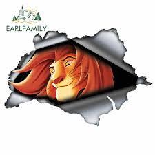 Earlfamily 13cm X 8 7cm For 3d Simba Car Sticker Torn Metal Decal Jdm Reflective Vinyl Auto Motorcycle Stickers Lion King Decal Car Stickers Aliexpress