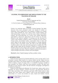 pdf culture its dimensions and implications to the teaching of
