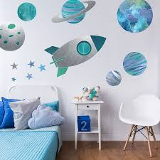 Perfect For Creating A Space Themed Nursery Or Bedroom Regular Size In Red Flying Rocket Wall