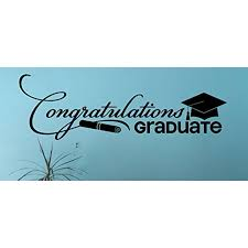 Congratulations Graduate Vinyl Decal Lettering With Graduation Cap Diploma Art 36x11 Inch Black Walmart Com Walmart Com