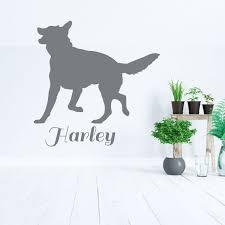 German Shephard Silhouette Dog Wall Decal Vinyl Decor Wall Decal Customvinyldecor Com
