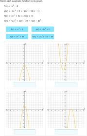 match quadratic functions and graphs