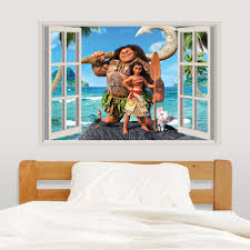 Moana Characters Gaming Wall Decal 3d Art Stickers Vinyl Room Home Bedroom