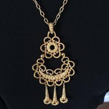 vintage crown large pendant necklace