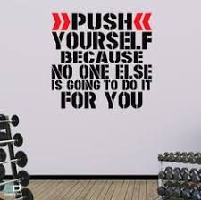 Push Yourself Word Square Wall Fitness Decal Quote For Gym Kettlebell Crossfit Yoga Boxing Mma Ufc Wall Sticker Wall Art Word Squares Gym Art Gym Decor