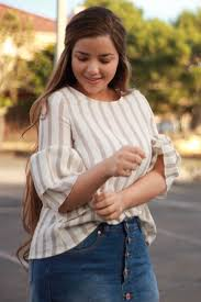 We've added several new tops including our Annabel taupe striped top.  Available now! (With images) | Girlie outfits, Taupe tops, Fashionistas  style