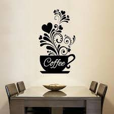 Coffee Cup Wall Art Mural Removable Pvc Wall Decal For Kitchen Coffee Room Nordicwallart Com