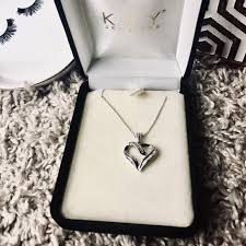 10k white gold heart pendant necklace