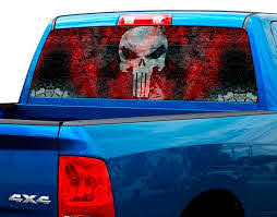 Product Punisher Blood Plate Rear Window Graphic Decal Sticker Truck Suv