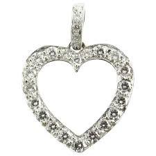 platinum diamond open heart pendant