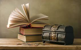 تحميل خلفيات مربع الكتب طاولة خشبية القطع النقدية عريضة