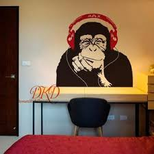 Banksy Wall Decal Monkey With Headphones Banksy Chimp Head Etsy