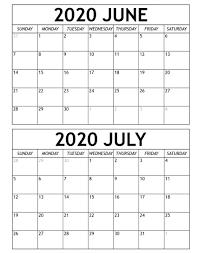 June July 2020 Calendar Templates ...