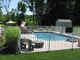 Pool Fence In White Great For Security Diy Pool Fence Fence Around Pool Aluminum Pool Fence