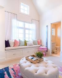 Window Seat Reading Nook With Colorful Pillows And Pompom Curtains Window Seat Reading Nook Kids B Bedroom Window Seat Bedroom Reading Nooks Window Seat Design