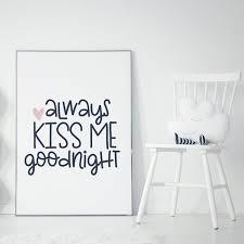 always kiss me goodnight heart wooden