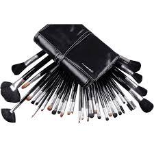 mac 32 pcs brush set with black makeup