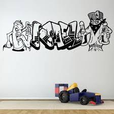 Graffiti Personalized Name Art Spray Wall Stickers For Nurser Kids Room Boys Bedroom Home Decor Vinyl Art Wallpaper Decals Wish