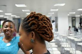 african threading hairstyle made with