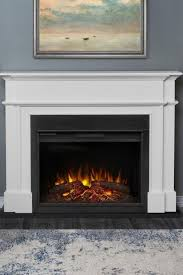 electric fireplace in whit