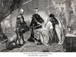 Queen Mary quitting Stirling Castle, engraving from the painting by  Henrietta Mary Ada Ward, Stock Photo, Picture And Rights Managed Image.  Pic. DAE-BA007485 | agefotostock