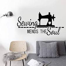 Amazon Com Bro Decals Wall Vinyl Decal Dinosaur Sewing Mends The Soul For Sewing Room Vinyl Decor Sticker Home Art Print Br7971 Home Kitchen