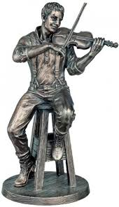 the fiddle player bronze figurine