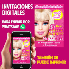 Tarjetas De Invitacion Whatsaap Cumpleanos Barbie 75 00 En