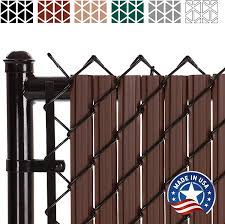 Solitube Slat Privacy Inserts For Chain Link Fence Double Wall Vertical Bottom Locking Slats With Wings For 6 Fence Height Brown Amazon Ca Patio Lawn Garden