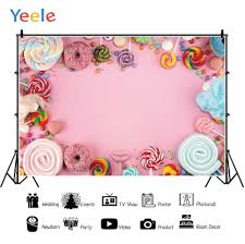 Yeele Cotton Candy Lollipop Donut Pink Solid Birthday Photography