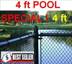 4 Ft High Black Chain Link Pool Safety Fence 1 1 4 11 Ga Mesh System Complete Includes Line Posts 1 5 8 With Hardware