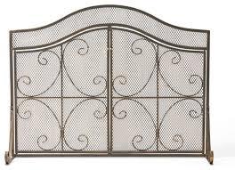 gary modern 3 panel iron fire screen