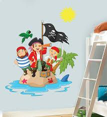 Childrens Pirate Island Wall Art Vinyl Stickers Boys Girls Bedroom Decal Mural Ebay