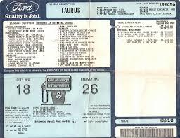 1995 Ford Taurus Sho Window Sticker Ford Taurus Sho Ford Taurus