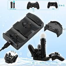 Kyvg 5 Trong 1 USB Sạc Đôi Đế Sạc Cho Máy Chơi Game Sony Playstation 4 PS4/  Pro/ Slim/PS3/ PS3 Di Chuyển Bộ Điều Khiển Không Dây|