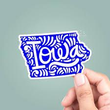 Iowa State Outline Vinyl Sticker Travel Car Stickers Laptop Etsy