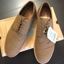 toms shoes brown chambray brogue