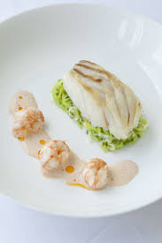 buttered leeks and langoustine bisque ...