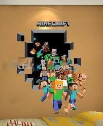 3d Minecraft Wall Decal Minecraft Room Decor Minecraft Bedroom Girls Minecraft Bedroom Decor