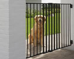 Dog Barrier Gate Outdoor Height 95cm Fits Openings Between 84 And 152cm Spacing Between Bars 5cm Black