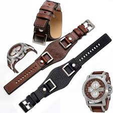 genuine leather 24mm men watch strap