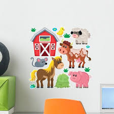 Barnyard Farm Animals Wall Decal Sticker Set Wallmonkeys Com