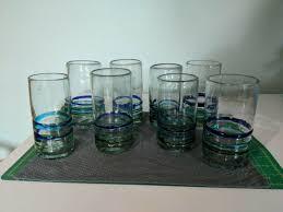 wine glasses mexican cobalt blue rim