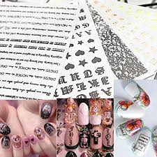 Amazon Com 5pcs Letter 3d Nail Art Sticker Nail Decal Gold Rose Letter Black Word Character Nail Adhesive Sticker Decal Nail Decoration Diy Arts Crafts Sewing