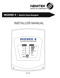 Installer Manual Wizord 4 Electric Fence Energizer Manualzz