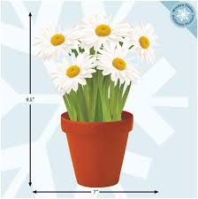 Amazon Com Flower Window Clings Daisies In A Flower Pot Window Decals Adhesive Free Spring Decorations Window Stickers Reusable Glass Door Sticker Decals Home Kitchen