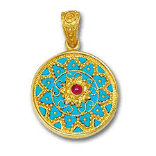 enamel ornate large round pendant