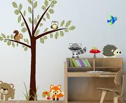 Baby Animal Wall Decals Forest Friends Woodland Stencils Art For Bathroom Realistic Grey Jungle Nursery Vamosrayos