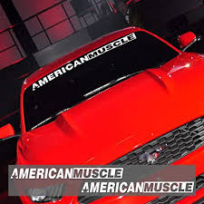 Amazon Com 2 Pieces Americanmuscle Bold Text Gt Front Rear Window Windshield Logo Banner Vinyl Decal Stickers For Ford Mustang Accessories Reflective White Arts Crafts Sewing